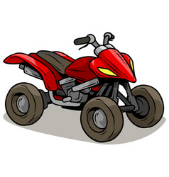 cartoon red modern offroad quad motorbike vector image