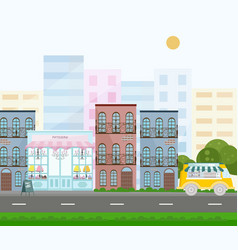 french style bakery street view in a city vector image vector image