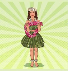 hawaiian girl with flower necklace pop art vector image