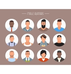 Male avatar icons set People characters in vector image