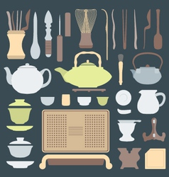 solid colors tea ceremony equipment set vector image vector image