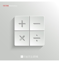 Calculator icon - white app button vector image vector image