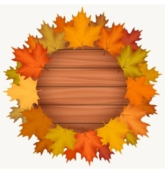 Circle wood banner with autumn leaves vector