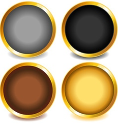 Colorful buttons with gold bevel-set3 vector
