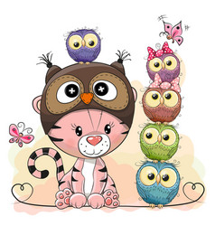 cute cartoon tiger and five owls vector image vector image