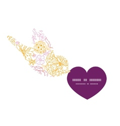flowers outlined birds holding heart vector image