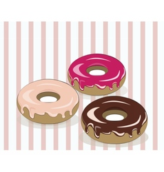 Glazed donuts on vintage background vector image vector image