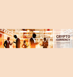 group of businesspeople silhouettes bitcoin crypto vector image vector image