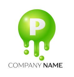 p letter splash green dots and bubbles letter vector image