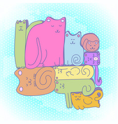 sleepy cat family vector image