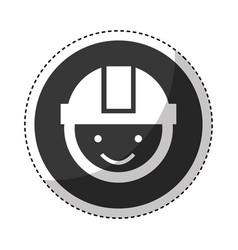 worker with helmet head vector image