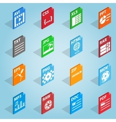 File format set icons isometric 3d style vector image