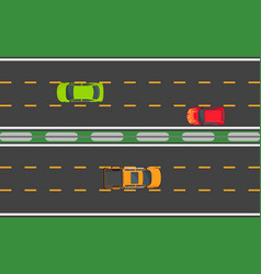 highway traffic concept with tree automobiles vector image