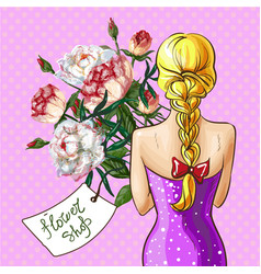 Pop art girl with flower bouquet vector