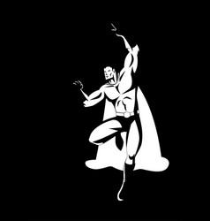 superhero in flying pose vector image vector image