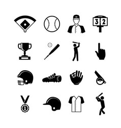 symbol of sport baseball black icons set vector image
