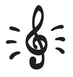 Violin key icon hand drawn icon vector image vector image