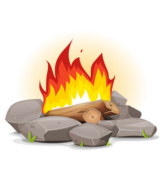 campfire with burning flames vector image vector image