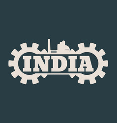 india word build in gear vector image
