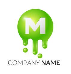 m letter splash green dots and bubbles letter vector image