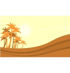 Silhouette of dessert and clump palm vector image vector image