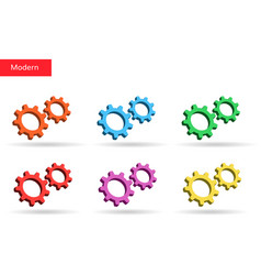 3d colorful gears set market vector