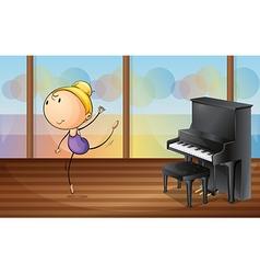 A woman dancing near the piano vector