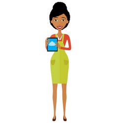 African american woman character with tablet vector