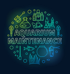 Aquarium maintenance colored round outline vector