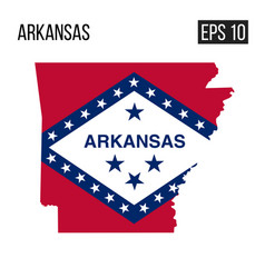 Arkansas map border with flag eps10 vector