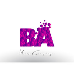 Ba b a dots letter logo with purple bubbles vector