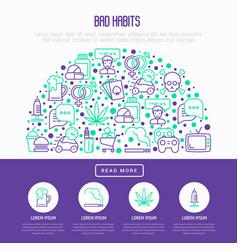 bad habits concept in half circle vector image