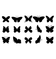 big set silhouettes butterflies vector image
