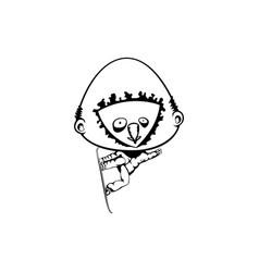 bighead trying snowboarding hand drawn vector image