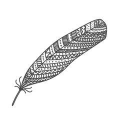 Black hand drawn feather painted in boho style vector