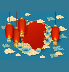 blue background with red oval traditional chinese vector image