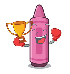 boxing winner pink crayon above cartoon school vector image