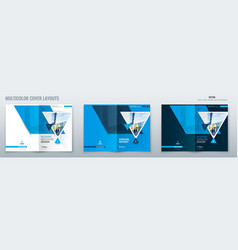brochure template layout design with triangles vector image