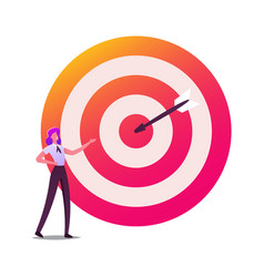 Businesswoman character at huge target with arrow vector