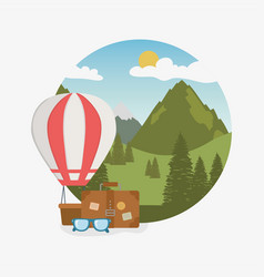 camping zone scene with suitcase vector image