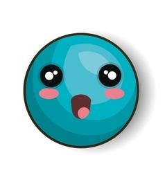 cartoon emoji blue smiling open mouth vector image