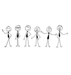 cartoon of crowd of business businessmen men vector image