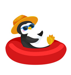 cartoon penguin in hat swimming in rubber ring vector image