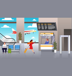 Check in airport woman runs with suitcase vector