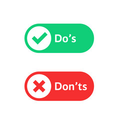 check marks ui button with dos and donts vector image