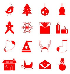 Christmas red icons on white background vector image