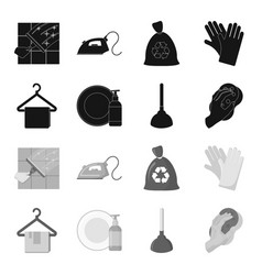 cleaning and maid blackmonochrome icons in set vector image