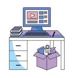 Computer and desk vector
