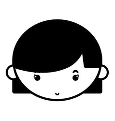 Contour child girl face with hairstyle design vector