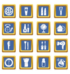 Cosmetics icons set blue square vector